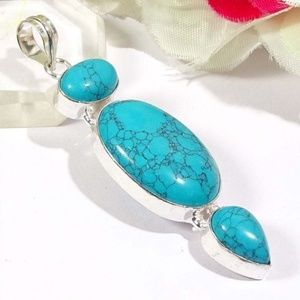 "Jewelry - BLUE TURQUOISE  PENDANT 2.8"""